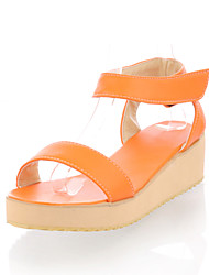 Women's Shoes Leatherette Wedge Heel Wedges Sandals Casual Green / Red / White / Orange