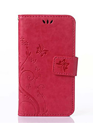 For Samsung Galaxy Case Card Holder / Wallet / with Stand / Flip / Embossed Case Full Body Case Flower PU Leather Samsung Core 2