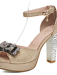 Women's Shoes Glitter/Chunky Heels/Platform/Sling back/Open Toe Sandals Wedding Shoes/Party & Evening/Dress Red