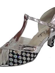 Women's Latin Sparkling Glitter PU Sandals Indoor Customized Heel Silver Black
