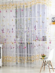 Little Butterfly One Panel Rod pocket Country Living Room Polyester Sheer Curtains Shades