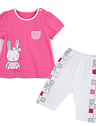 Girl's Clothing Set,Cotton Summer / Spring Red