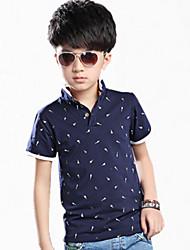 Katoen-Zomer-Boy's-T-shirt-Kleurenblok