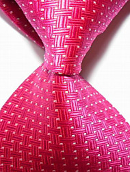 Hot Pink Crossed JACQUARD WOVEN Men's Tie Necktie