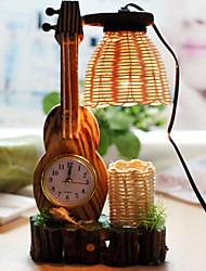 kreative Holz der Geige mit Uhr Federbehälter Dekoration Schreibtischlampe Schlafzimmerlampe Geschenk für Kind