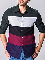 Men's Long Sleeve Shirt,Cotton Casual Patchwork