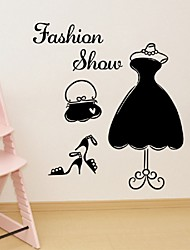 Fashion Show Wall Sticker Unique Dress Wardrobe Windows Paste Sticker Home Decor Pvc Decorative Wallpaper