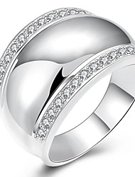 New Luxurious Austrian Crystal Metal Ring Real Platinum Plated Big Rock Men Ring Party Wedding Ring