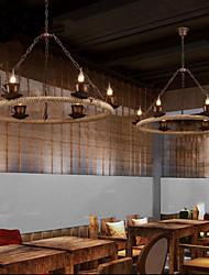 Ceramic Coffee Industry Wind Rope Chandelier RetroLron Chandelier Simple Restaurant