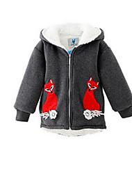 Girl's Gray Jacket & Coat,Cartoon Cotton Winter