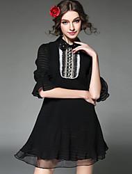 mulheres moda aofuli Plus Size vestido luxuoso do vintage talão de pérolas do laço patchwork gaze plissado vestido com mangas 3/4
