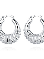 lureme®Fashion Style 925 Sterling Sliver Twisted Shaped Hoop Earrings