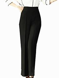 Women's Solid Black High Waist Plus Size Wide Leg Pants