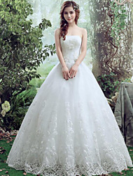 A-line Wedding Dress Floor-length Bateau Lace / Tulle with Lace
