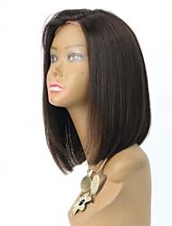 en stock 12inch bob droite couleur naturelle dentelle cheveux vierges brazilian perruque avant