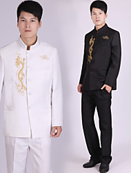 Suits Tailored Fit Notch Single Breasted More-Button Polyester Patterns 2 Pieces Black / White