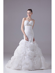 Trumpet / Mermaid Wedding Dress Court Train Sweetheart Organza / Satin with Appliques / Beading / Flower / Ruche