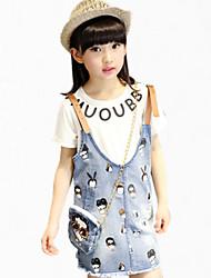 Menina de Vestido / Camiseta,Festa/Coquetel Estampado Algodão Verão Azul