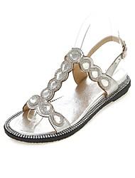 Women's Shoes Flat Heel T-Strap / Comfort / Open Toe Sandals Outdoor / Party & Evening / Dress Silver / Gold