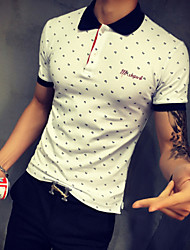 Men's Short Sleeve Polo,Cotton Casual / Sport Print