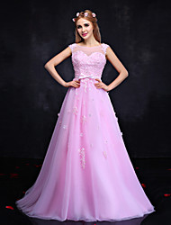 Formal Evening Dress-Candy Pink Ball Gown Jewel Floor-length Lace / Tulle