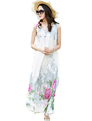 Women's Simple Floral Swing Dress,Round Neck Maxi Polyester
