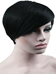 Mujer Pelucas sintéticas Sin Tapa Corto Liso Negro Peluca de celebridades negro peluca Las pelucas del traje