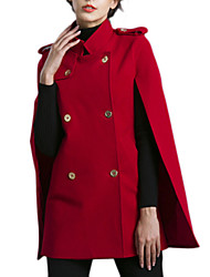 Women's Solid Red Coat Long Sleeve Polyester