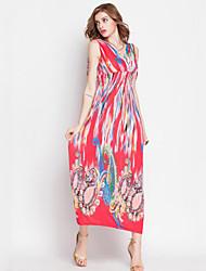 Women's Vintage / Boho Print Swing Dress,V Neck Maxi Polyester
