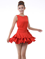 Latin Dance Dresses Women's Training Milk Fiber Draped / Ruffles 2 Pieces Black / Dark Purple / Red Latin Dance Sleeveless NaturalDress /