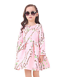 Girl's Cotton Summer Peach Blossom Pattern Long Sleeve Dress