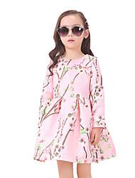 Girl's Cotton Summer Peach Blossom Pattern Long Sleeve Dress