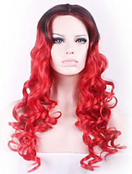 COSPLAY Black Mixed Red Long Curly Hair Synthetic Wig