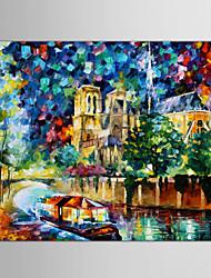 Peint à la main Abstrait / Paysage / Paysages AbstraitsModern / Style européen Un Panneau Toile Peinture à l'huile Hang-peint For