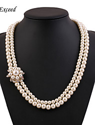 Necklace Strands Necklaces / Pearl Necklace Jewelry Wedding / Party / Daily / Casual Pearl / Imitation Pearl / Silver Plated Gold / White