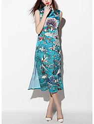 De las mujeres Vaina Vestido Vintage Jacquard Midi Escote Chino Poliéster