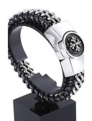 Homme Bracelets en cuir Acier inoxydable Cuir Amour A B C Bijoux 1pc
