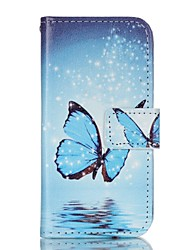 Blue Butterfly Painted PU Phone Case for iphone5SE