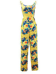 Women's Print Yellow Jumpsuits,Vintage / Casual / Day Strap Sleeveless