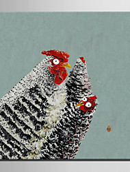 Mini pintura al óleo de tamaño de correo hogar moderno tres pollos pura mano dibujan pintura decorativa sin marco