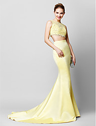 TS Couture® Formal Evening Dress - Two Pieces Trumpet / Mermaid Scoop Court Train Lace / Satin with Lace / Sequins