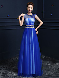 Formal Evening Dress Ball Gown Jewel Floor-length Satin / Tulle with Crystal Detailing