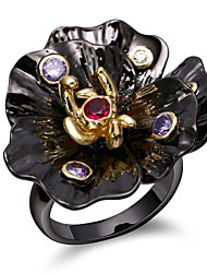 Special Women Flower Rings Unique Black & Gold Plated Amethyst & Siam Cubic Zirconia Ring