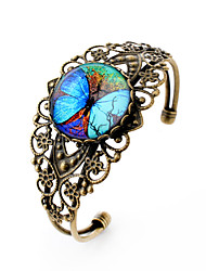 Lureme® Vintage Jewelry Time Gem Series Fluorescent Big Butterfly Antique Bronze Hollow Flower Open Bangle for Women
