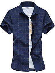 Men's Fashion Casual Short Sleeved  Plaids Shirt  Plus Sizes
