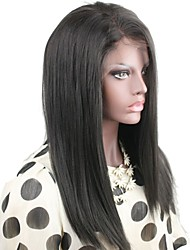"Hot selling 8""-24"" Brazilian Virgin Hair Yaki Straight Natural Black Color Full Lace wig"
