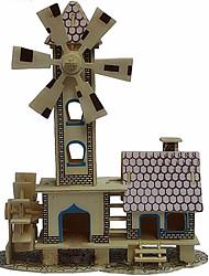 Quebra-cabeças Quebra-Cabeças 3D / Quebra-Cabeças de Madeira Blocos de construção DIY Brinquedos Moinho de vento Madeira BegeModelo e