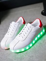 Homme-Extérieure Décontracté Sport-Blanc-Talon Plat-Light Up ChaussuresSimilicuir