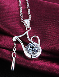 Fashion Teapot Diamond Exaggeration Beauty Silver Necklace For Women&Lady