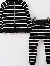 Girl's Black Clothing Set,Stripes Cotton Winter